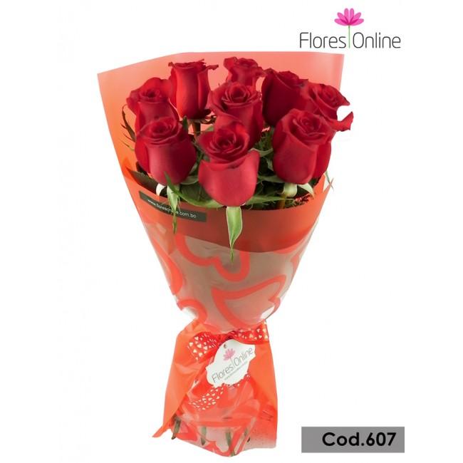 Bouquet Romantico 9 Rosas(Cod.607)