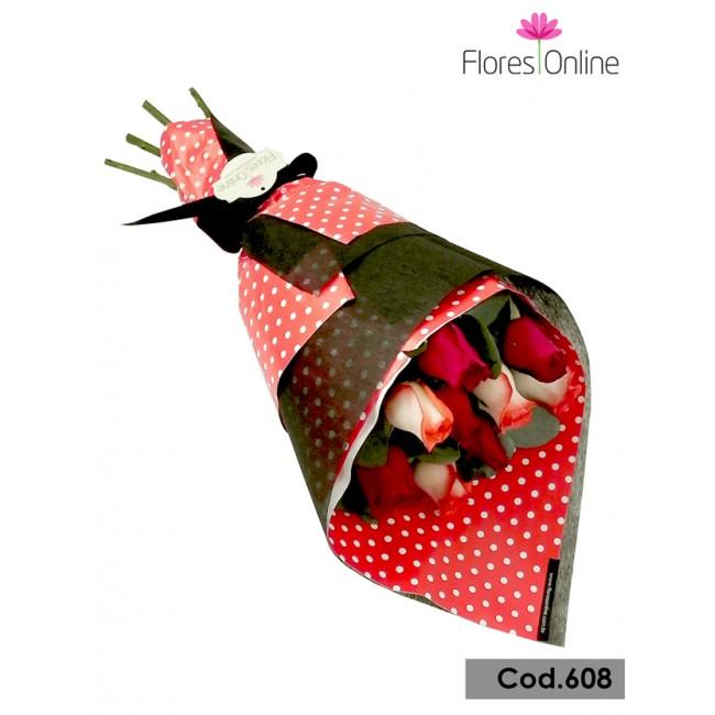 Bouquet 9 Rosas Blush Rojas (Cod.608)