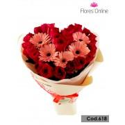 Bouquet Corazón Rosas y Gerberas(Cod.618)