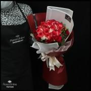 Bouquet 18 Rosas blush y clavelina (Cod.2328)