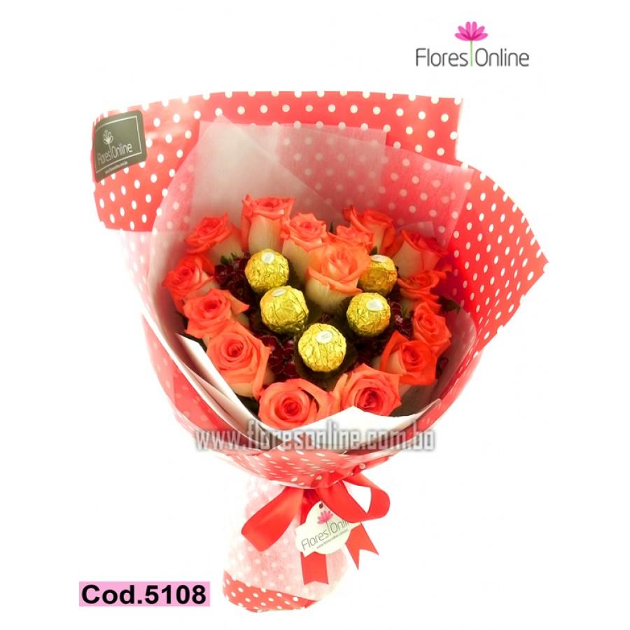 Bouquet Corazón Rosas y Chocolates(Cod.5108)