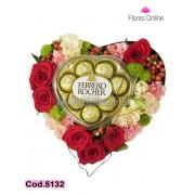Corazon mix de Flores y Chocolates (Cod.5132)