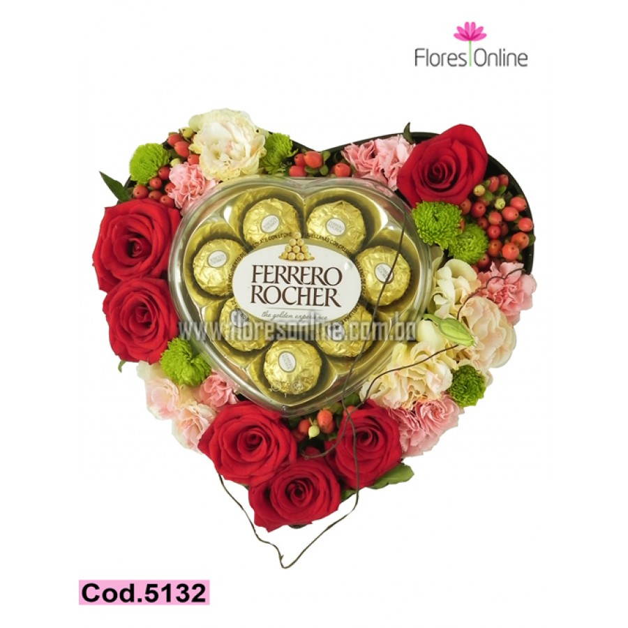 Corazon mix de Flores y Chocolates (Cod.5132)