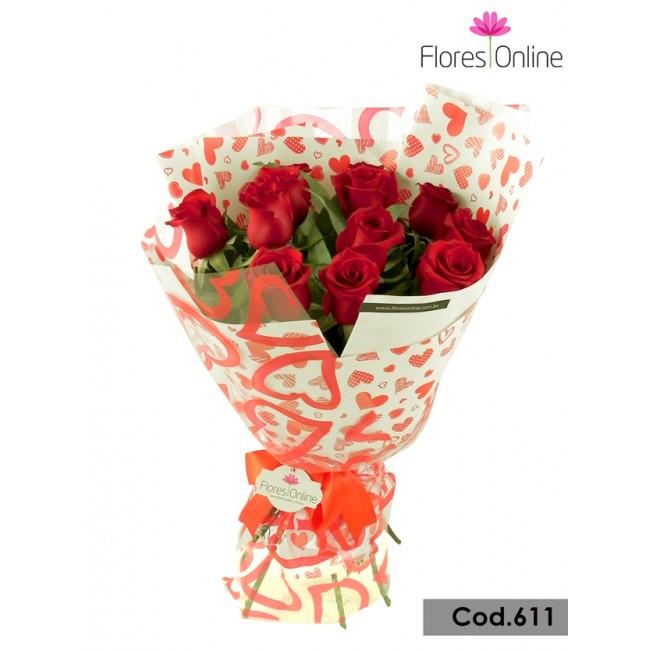 Bouquet Corazones y Rosas(Cod.611)