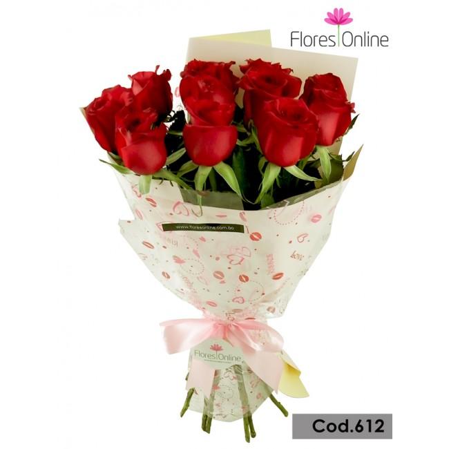 Bouquet Romantico 12 Rosas(Cod.612)