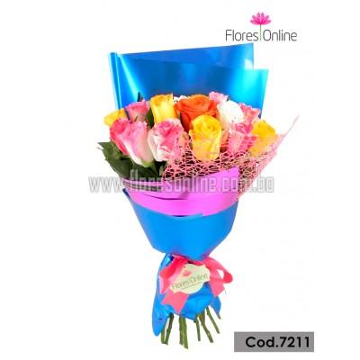 Bouquet Arcoiris 18 Rosas(Cod.7211)