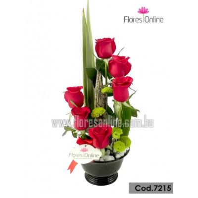 Jardín de 6 Rosas Importadas (Cod.7215)