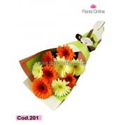 Bouquet Gerberas Crema Naranja (Cod.201)