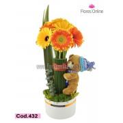Niño Flores y Peluche (Cod.432)