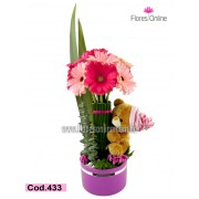 Niña  flores y Peluche (Cod.433)